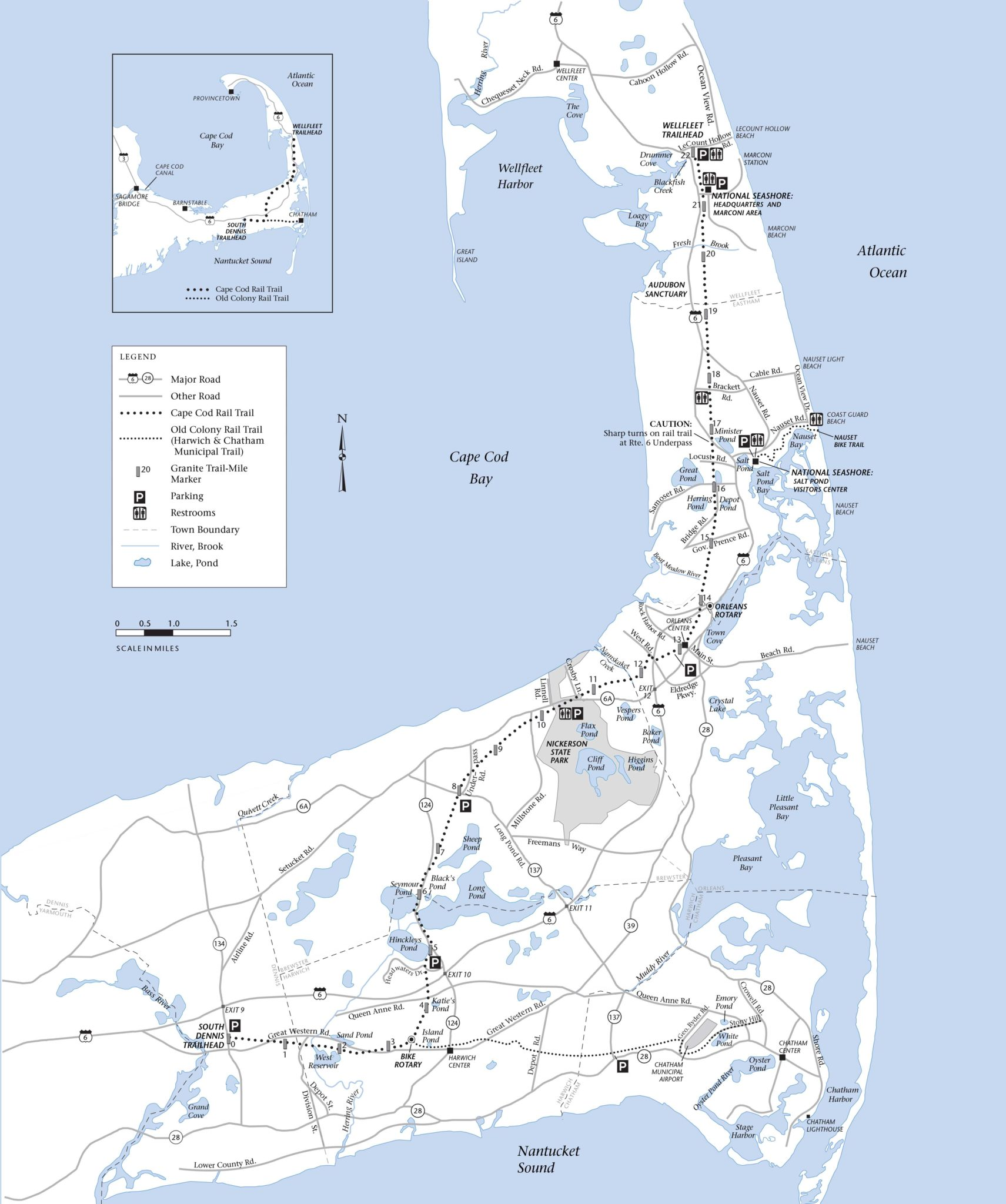 Cape Cod Rail Trail Map on