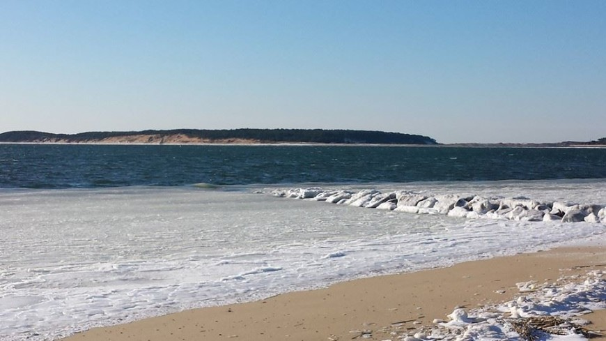 Ice at Indian Neck Beach, Wellfleet, Cape Cod, MA.